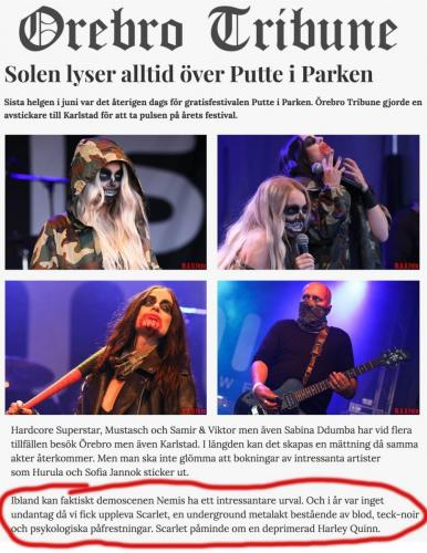 "Putte i Parken, Örebro with ""SCARLET"", 2018."